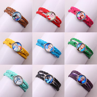 Wholesale 12 colors Frozen Love Infinity Bracelets Anna Elsa Princess Leather Charm Bracelet Vintage Fashion Jewelry Frozen ring