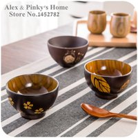 Wholesale Japanese Tableware handmade wooden bowls Salad Bowl Rice Soup Bowl Kitchen Bowl