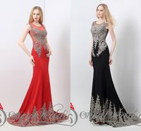 appliques - 2015 Vintage Red Black Party Evening Dresses Mermaid Sheer Crew Neck Beaded Applique Satin Court Train Formal Evening Gowns Real Image