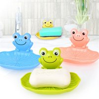Wholesale Plastic Frog Shaped Soap Dishes Suckers Holder Decorative Handmade Travel Bathroom Shower Stand Free Standing Rack