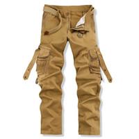 camo clothing - cheap mens clothes pants hot slacks khaki black Cotton camo cargo pants sweat no belt loose dressy pant suits for sale