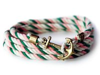 Wholesale 2016 Women Men Brand Anchor Bangle Cotton Rope Bracelets Bangles Jewelry Leather Rope Strap Bracelet For Sales