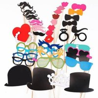 Wholesale 44pcs Colorful DIY Props on a Stick Mustache Photo Booth Party Fun Wedding Christmas Birthday Favor
