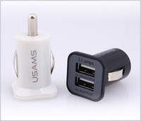 Wholesale USAMS A Car Charger Dual Port USB Charger Adaper V mAh for iPhone Samsung HTC MQ100