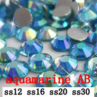 Wholesale aquamarine AB ss12 ss30 mm crystal glass Rhinestone flatback rhinestones silver foiled