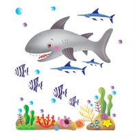 beautiful fish wallpaper - Beautiful Underwater World Shark Fish Removable Wall Stickers Art Decals Mural DIY Wallpaper for Kids Child Room cm