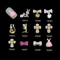 arts cross pendant - D Charms Jewelry Decorations Rabbit Bow with pendant Cross Mermaid Glitter Nails Tools Rhinestones Nail Art TN979