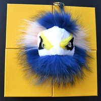 big animals photos - Real fur Leather Monster Pom Pom Doll Ball keychain strap Bag pendant car Charm Big size A section color optional