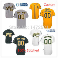 Wholesale 2016 New Custom Oakland Athletics Authentic Embroidery stitched onfield Cool Base Baseball Personalized Jerseys Top Quality M to XL