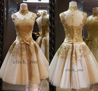 2014 prom dresses - 2014 Prom Dresses LaceBack Zipper Short A Line High Neck Bowknot Sashes Appliques Ruffles Organza Prom Dress Evening Party Gowns
