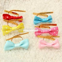 Wholesale 20PCS Metallic Polka Dot Twist Wire Tie With Bow Candy Cookie Cake Bag Party