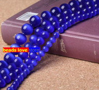 Wholesale Pick Size MM Smooth Dark blue Cats Eye Beads Natural Stone Spacer Loose beads quot Strand Mexican Opal F00232