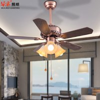 Wholesale Antique Contracted Ceiling Fans Luxury Solid Wood Bronze Chandeliers E27 LED Lights Brief Dining Room Restaurant Living Room