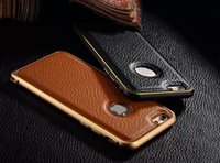 Wholesale Metal Aluminum Bumper For Apple iPhone Double Color Flexible Vintage Lychee Genuine Leather Back Cover Case For iPhone Plus