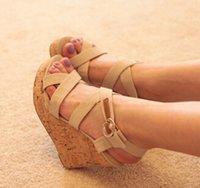 Wholesale new platform high heeled women sandals wedges summer single shoes woman open toe sandal slippers size