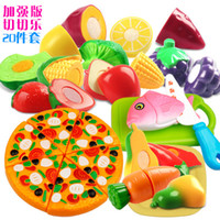 Wholesale pizza sets Children s play plastic toy kitchen toy boys girls toys sets cut fruits and vegetables happy puzzle