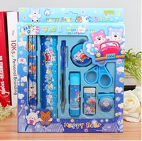 Wholesale Stationery set children stationery gift ruler pencil scissor eraser sets