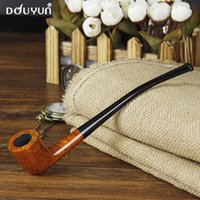 Cheap Wholesale-Douyun smoking pipe briar long design long tobacco pipe Free Type suitable for 9mm filter