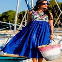 ladies chiffon fashion dresses - New chiffon dress for womens summer maxi dresses fashion printed sleeveless blue White Casual ladies dresses freeshipping