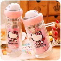 Wholesale Creative portable double filter glass transparent cover with water glass bottle with the office of sweet tea