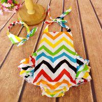 chevron clothing - Rainbow Baby Girls Clothing Set Chevron bubble Romper matching Headband Baby Sun Suit With headband