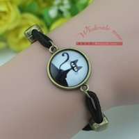 arts leather bracelet - Black cat Charms Art Picture Glass dome Pendant Leather Bracelets Bangles