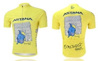 Cheap 2014 TOUR DE FRANCE ASTANA PRO TEAM NIBALI YELLOW ONLY Short Sleeve Cycling Jersey Bicycle Wear Size XS-4XL A005