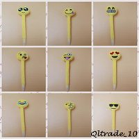 Wholesale 100pcs LJJC2729 Designs New Arrival Children Gifts Creative Ball Expression Pens Children Lovely Cartoon Plush Toy Emoji Ballpoint Pens