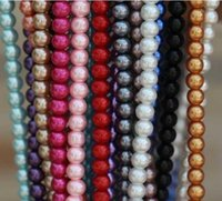 Wholesale OMH free ship mm White Black round glass pearl spacer beads Many color