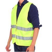 Wholesale NEW HOT Polyester Material Visibility Security Safety Vest Jacket Reflective Strips Orange Yellow Work Wear Uniforms Clothing