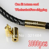 Cheap WHOLESALE!!! 1000X Gold plated for 3mm leather cord necklace ends caps buckle Bayonet Clasps