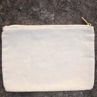 Wholesale 10oz plain natural pure cotton pouch with gold zip coin purse unisex casual coin wallet blank for custom print