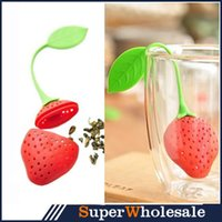 Wholesale Silicone Strawberry Design Loose Tea Leaf Strainer Herbal Spice Infuser Filter Tools Christmas Gift