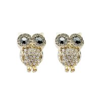 Wholesale 2015 Korean Fashion Romantic Elegant Charm Black Eye Full Rhinestone Owl Earrings Delicate Gorgeous Jewelry Accessories