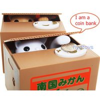money box - Automated panda baboon pig dog mouse itazura cat steal coin piggy bank saving money box coin bank kids gift models