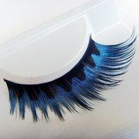 art section - Stage Color False Of Eye Elongated Section Of Blue and black Corrugated False Smoky makeup Eyelashes Art Thick False Eyelashes