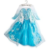Cheap in stock custom-made movie cosplay costume princess elsa Frozen Dress Princess Elsa Dresses With Lace Snowflake queen elsa costume dress