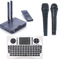 Cheap CS4K RK3288 2G+8G+5.0MP Android TV BOX Quad Core Android 4.4 with Wireless Karaoke Microphone Smart TV Box + 500AC Keyboard