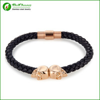 Wholesale BC Jewelry Hot Selling Fashion Mens Genuine Leather Braided Northskull Bracelets Double Skull Bangle BC