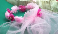 Wholesale Pink Tulle Floral Cornet With Two layer cm Veils Kids Tulle Flowers Chaplet For Wedding Flower Girls Headwear Tiara Crown Headband