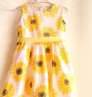 american sunflower - girls sunflower dress cute summer kids girls princess sleeveless dress with belt yellow party dresses in stock