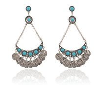 Wholesale Luxury big personality and temperament coin tassel diamond earrings jewelry ER