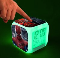 Wholesale New Spider Man LED Digital Alarm Clock LED Desk Clock Colors Change Automatically with Thermometer