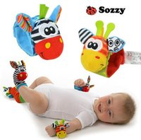 Wholesale sets New Style set wrist socks Sozzy rattle Wrist donkey Zebra Wrist Rattle and Socks toys