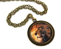 aslan lion - 10pcs Aslan The Lion the Witch and the Wardrobe Narnia Necklace Glass Cabochon Necklace
