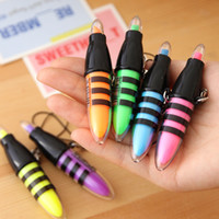 Wholesale Pieces Stationary Mini Bee Fluorescence Highlighter Marker Nite Writer Pen String Text Book Liner Office