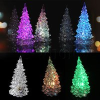 Wholesale Mini Color Changing Icy Crystal LED Christmas Tree Decoration Light Night Light