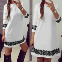 Wholesale 2016 fashion new arrival women s clothing ladies dress O Neck Sleeve Lace Trimming A Line Short Dress White