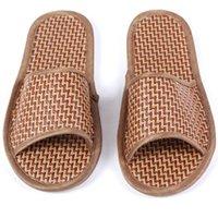bamboo womens sandals - 1 Pair Mens Womens Home Bedroom Bamboo Slippers Flat Heel Summer Beach Sandals