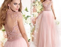 Wholesale Pink High Neck Chiffon Bottom Crystal Beaded Hollow Back Pageant Dresses Long Floor length Luxury Beaded Evening Formal Gowns